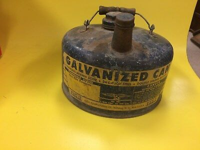 Vintage Eagle 1 Gallon Gas Galvanized Can 26 Gauge Steel Double Seam Bottom Wo