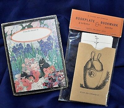 2 NEW Bookplates Cats & Flowers & Garden Vases Pocket Cards Antioch Jane Jenni