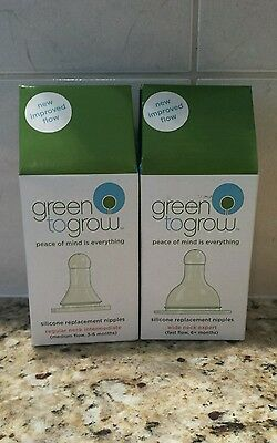 GREEN TO GROW 6 Nipples Medium Fast flow Neck Vented Silicone BPA Free