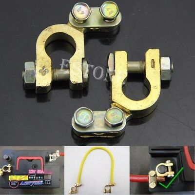 2Pcs Small 41mm x 36mm Auto Car Replacement Battery Terminal Clamp Clips Brass C