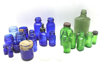 20+ pc Lot Antique Aqua Green+Cobalt Blue Apothecary Bottles Cork Mixed Sizes