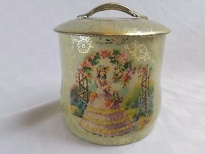 Vintage Lithographed Biscuit Tin VICTORIAN GARDEN LADY Metal Box Co. England