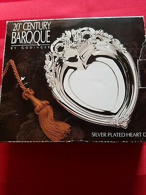 Baroque silver plated heart dish 20th century by godinger