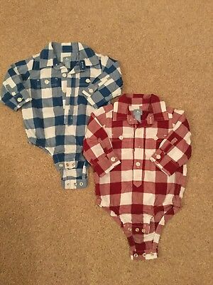Gap Checked Shirt Style Baby Bodysuits-1 x Red/1 x Blue Age 3-6 Months