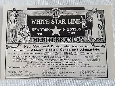 1905 White Star Steam Ship Line Ad - New York - Boston