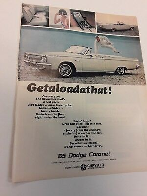 1965 Dodge Coronet Convertable Chrysler Ad - Mopar Vintage Original