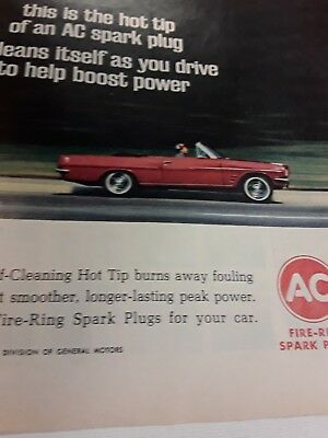 1965 Pontiac Tempest Convertable And Ac Spark Plugs - Gm - Vintage Original Ad