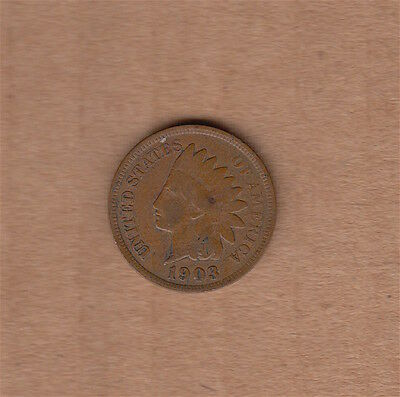 "1903 Indian Head Cent Penny ""SHARP DETAIL - LOOK!"" NO RESERVE! USA coin 1c"