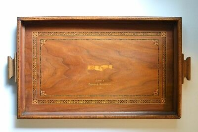 Antique Art Deco 1926 Inlaid Marquetry / Parquetry Wood Serving Tray