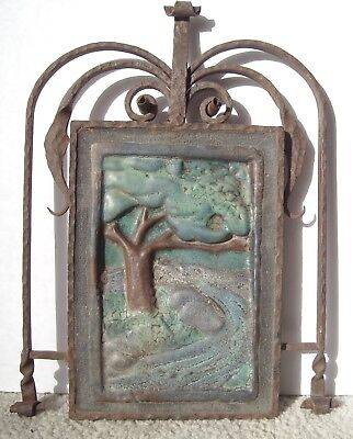 California arts craft Style ,Tile , Mural w/ Forged Wrought Iron Bushere & Son,