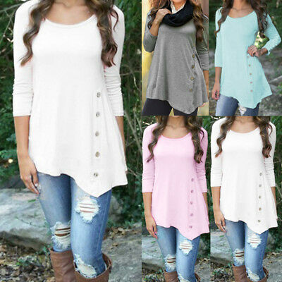 Plus Size Women's Loose Long Sleeve Irregular Casual Tops T-Shirt Blouse Fashion