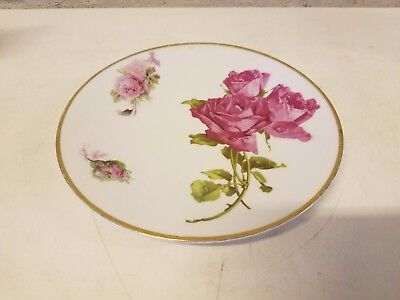 Antique Herman Ohme Porcelain Silesia Decorative Floral Plate