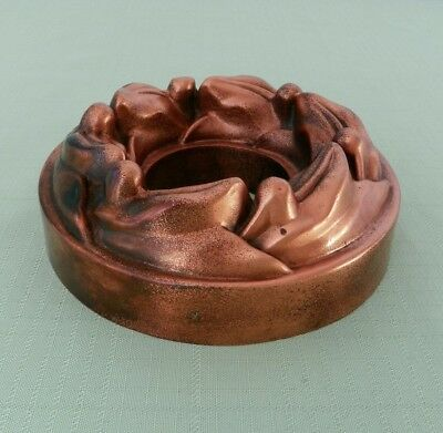 Victorian Benham & Froud Round Copper Pudding / Jelly Mold - Leaves & Berries