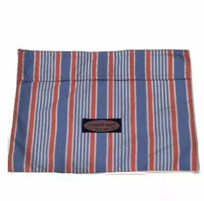 Vineyard Vines Blue Red Stripe Pouch Makeup Bag Accessory Case