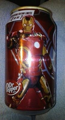 1 Full ~ DR. PEPPER ~ Iron Man ~ 12 oz Soda CAN From Canada but shipped from US