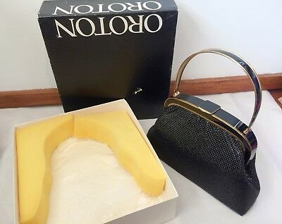 Vintage 1960's OROTON W. Germany BLACK ENAMEL & GOLD METAL EVENING BAG - BOXED