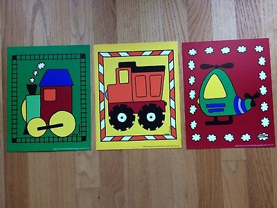 Bright Colors Transportation Train/Truck/Helicopter Prints for Kids Room/Nursery