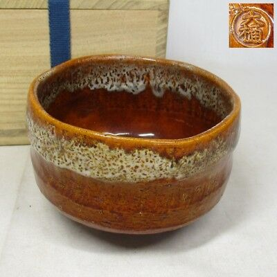 B937: Japanese OHI pottery tea bowl of very good AME-YU and taste with box