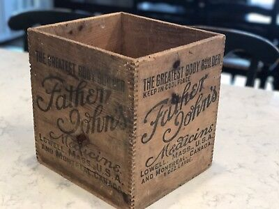 Antique Father John's Medicine Wood Crate Box General Store Advertising Dovetail