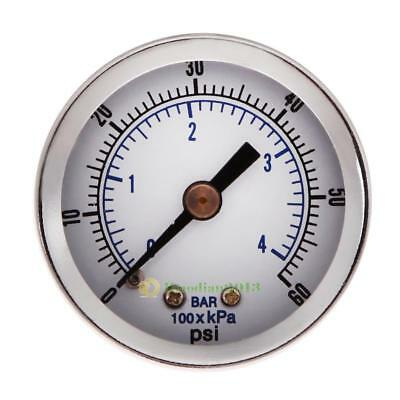 "1/8"" NPT Air Compressor Pressure/Hydraulic Gauge 1.5"" Face Back Mount 0-60 PSI"