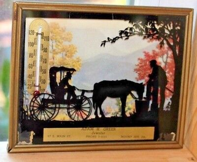 Vintage Antique Thermometer Silhouette Horse & Carriage