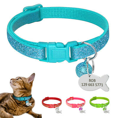Cute Bling Sequins Cat Collars with Custom Pet Tags Soft Nylon for Small Kitten