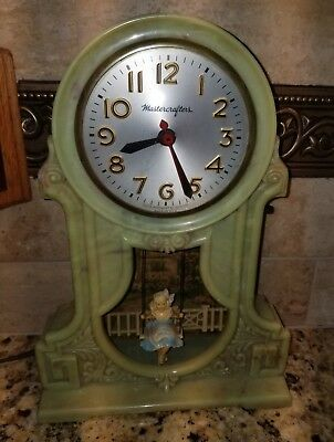 MASTERCRAFTERS ANIMATED SWINGING GIRL COTTAGE MOTION CLOCK  .See-Video