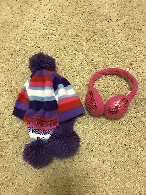 TCP The Children's Place Girls Fleece Hat Earmuffs Pink Purple 4 5 6 7