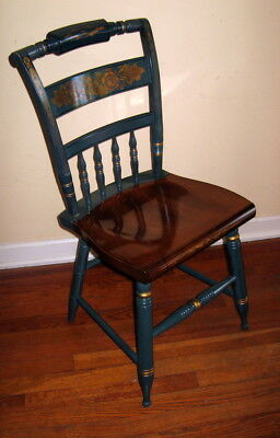 Vintage Original Hitchcock Green Stencil Harvest Inn Maple Seat Chair