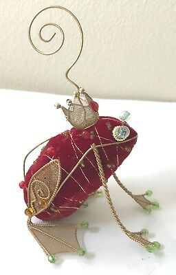 Vintage 90s Red Velvet Gold Wire Mesh Christmas Frog Prince Crown Bead Ornament