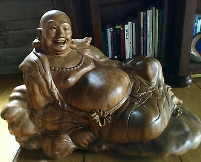 Antique Reclining Wood Buddha Statue Carved From Extinct Waru Tree (Bali, 1931)