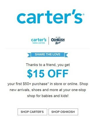 Carter's & OSHKOSH $15 OFF $50 COUPON CODE EXP 1/13/18 **DELVRD W/IN 2 HRS**