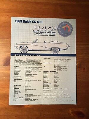 1969 Buick GS 400 Specification Sheet