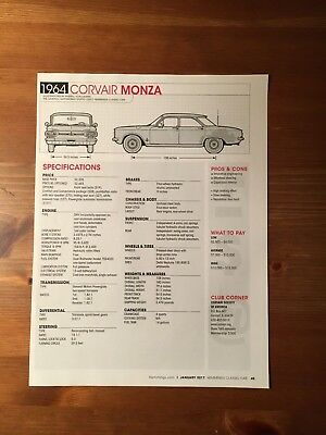 1964 CORVAIR MONZA Specification Sheet