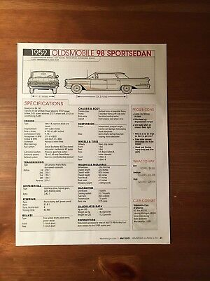 1959 OLDSMOBILE 98 SPORTSEDAN Specification Sheet