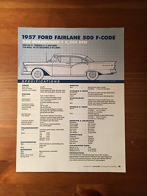 1957 FORD FAIRLANE 500 F-CODE Specification Sheet