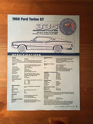 1968 Ford Torino GT Specification Sheet