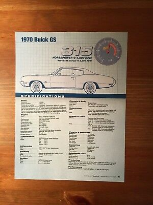 1970 Buick GS Specification Sheet