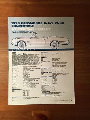 1970 OLDSMOBILE 4-4-2 W-30 CONVERTIBLE Specification Sheet