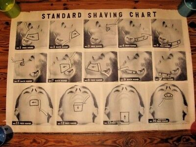 Original Vintage 1949 Barbershop Standard Shaving Chart Sign Straight Razor
