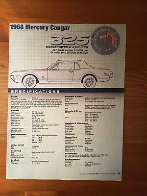 1968 Mercury Cougar Specification Sheet