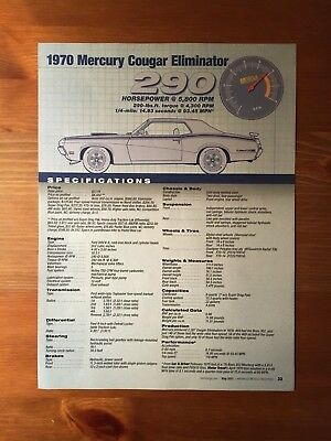 1970 Mercury Cougar Eliminator Specification Sheet
