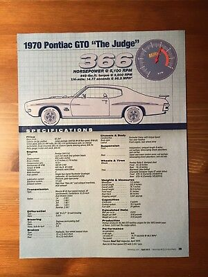 "1970 Pontiac GTO ""The Judge"" Specification Sheet"
