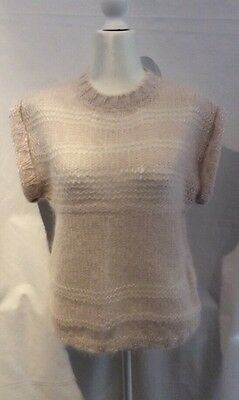 I R O Brand - Open Weave Knitted Mohair Mix - Vest Size 2 - Made In Uruguay