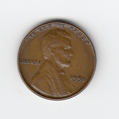 1951 Usa 'lincoln Wheat' One 1 Penny/cent
