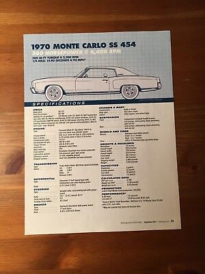 1970 MONTE CARLO SS 454 Specification Sheet