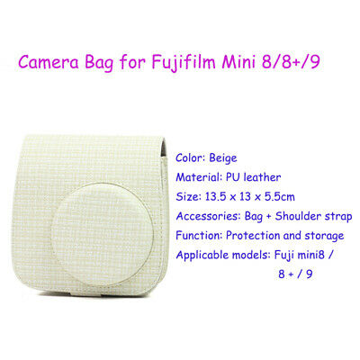 PU Leather Camera Bag Pouch for Fujifilm Instax Mini 8/8+/9 with Shoulder Strap