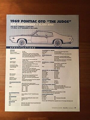 "1969 PONTIAC GTO ""THE JUDGE"" Specification Sheet"