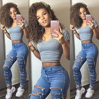US Women High Waist Ripped Denim Jeans Flower Embroidered Skinny Stretch Trouser