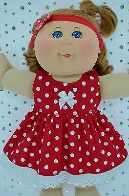 """Play n Wear Doll Clothes For 14""""Cabbage Patch RED POLKA DOT DRESS~HEADBAND"""